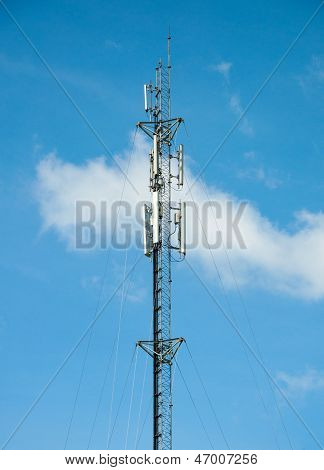Cell Tower And Radio Antenna And Blue Sky