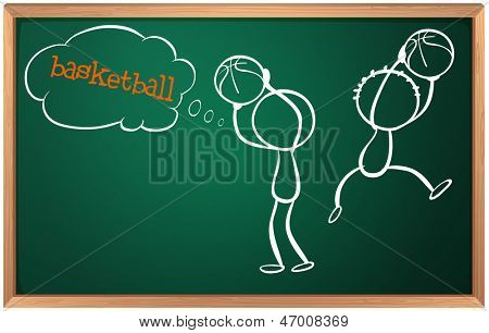 Illustration of a blackboard with basketball players on a white background