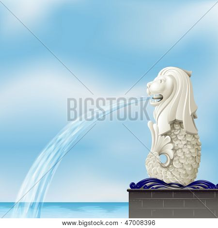 Illustration of a white merlion