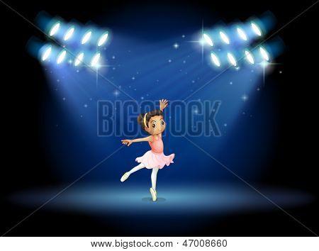 Illustration of a little girl dancing ballet with spotlights poster