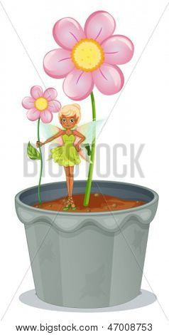 Illustration of a fairy holding a flower standing on a flower pot on a white background