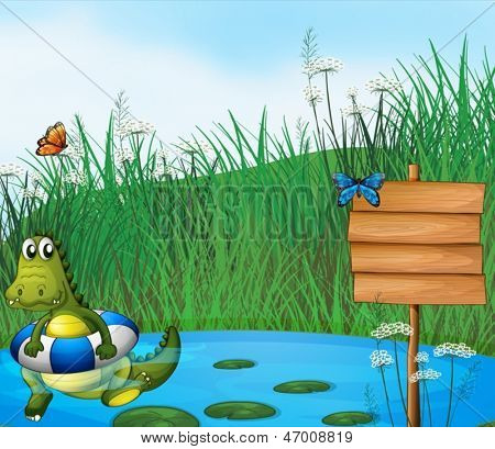 Illustration of a crocodile swimming in the pond