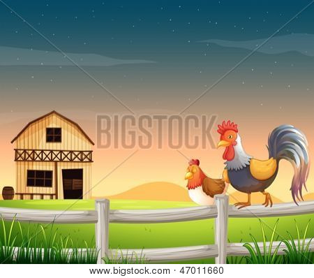 Illustration of a rooster and a chicken near the barnhouse