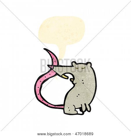 retro cartoon squeaking rat