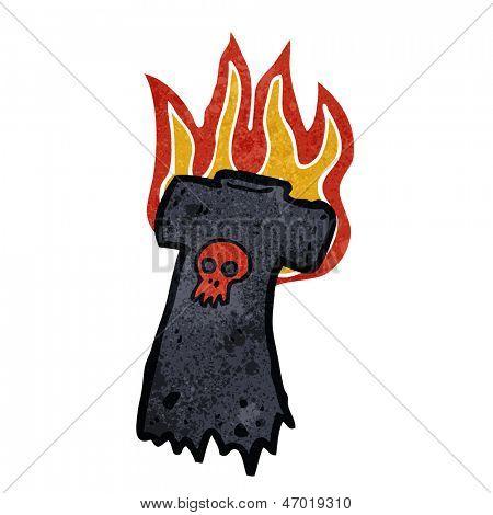 retro cartoon flaming tee shirt