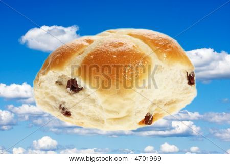 Easter hot cross bun isolated on plain background poster