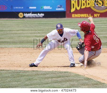 Altoona Curve batter Jarek Cunningham is out a second base