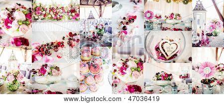 Wedding decorations collage, collage of nine wedding photos