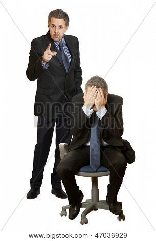 Businessman firing an employee, isolated on white