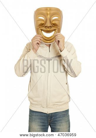 A man holding a gold mask theater comedy