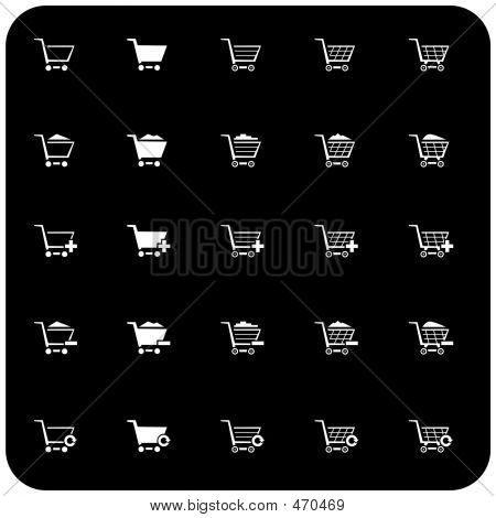 Icono de carrito de compras establecido 2 (blanco y negro)