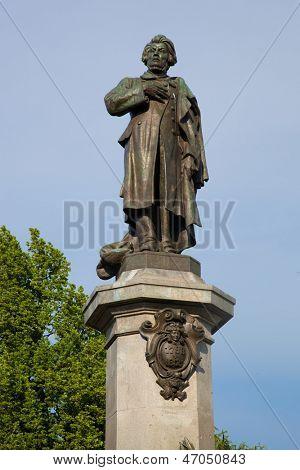 Adam Mickiewicz Monument in Warsaw, Poland at the Krakowskie Przedmiescie poster