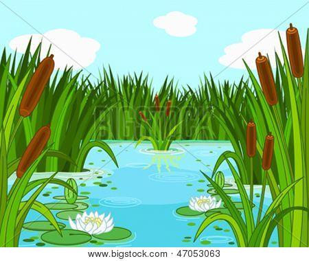 Illustration of a pond scene