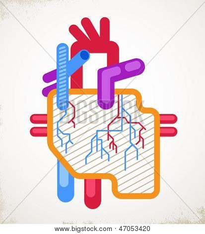 Human Heart health, disease and attack icon