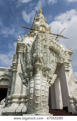 Naga Statue And Chedi In Wat Sri Don Moon , Chiangmai Thailand