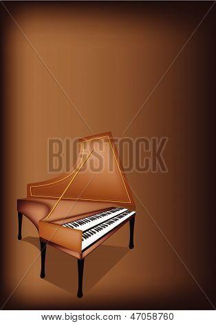 A Retro Harpsichord On Dark Brown Background