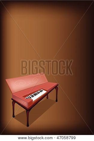 A Retro Clavichord On Dark Brown Background