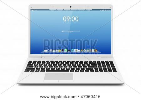 White mobility laptop. Interface. Isolated on white background poster