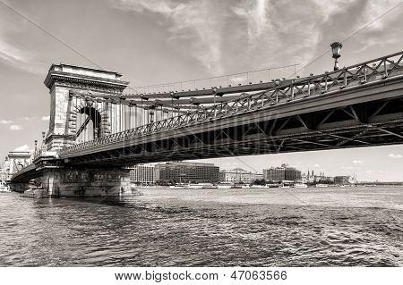 Budapest Chain Bridge Day Monochrome View