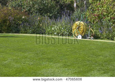 Garden Hose On Green Lawn