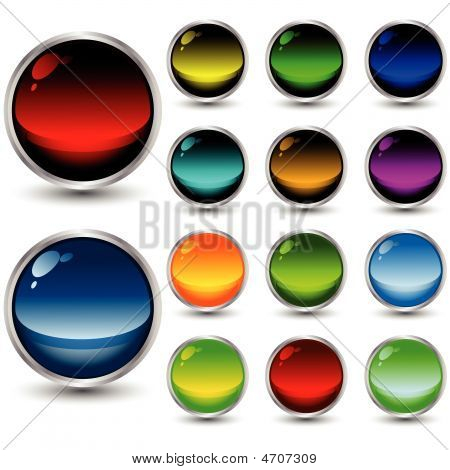 set of vector web buttons with shadows over white background poster