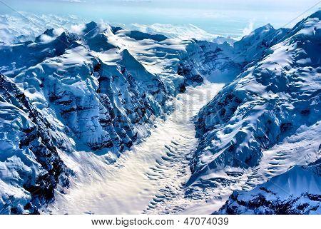 Aerial View of the Beginning of a Glacier, Denali National Park, Alaska.