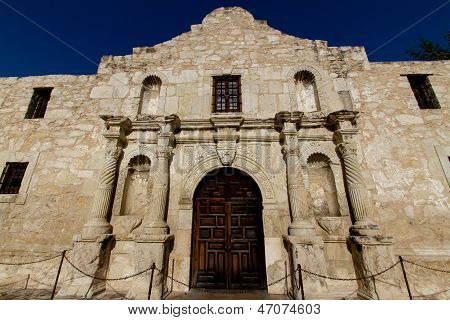 The Historic Alamo, near Sunset, in San Antonio, Texas.  Taken May 26, 2011.  Former Roman Catholic Mission.  Site of the Battle of the Alamo in 1836.  Permanent building started in 1744. poster