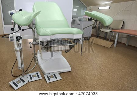 Interior of a gynaecologist consulting room