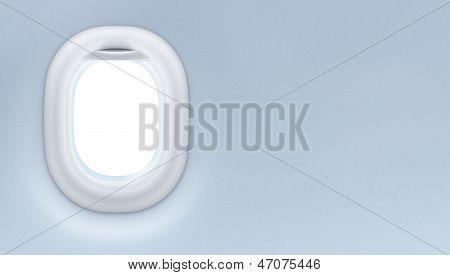 Avión o jet ventana interior. Concepto de diseño de turismo.