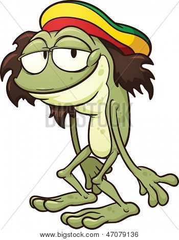 Rastafarian frog. Vector clip art illustration with simple gradients. All in a single layer.