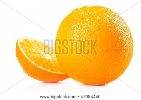 Ripe tasty orange isolated on white background