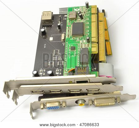 PCI and AGP cards for PC from the side