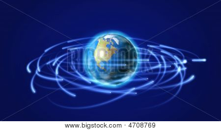 Earth And Satellites In Space