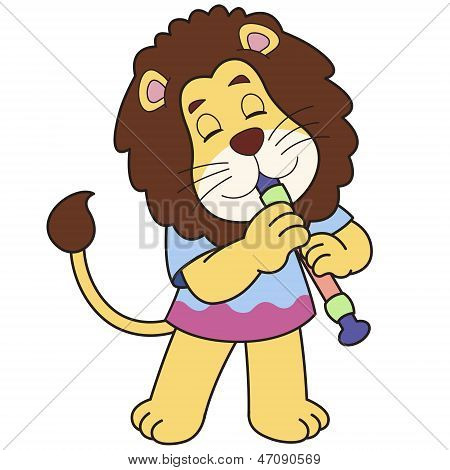 Cartoon Lion Playing An Oboe