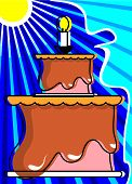 Illustration of a birthday cake and candle on top poster