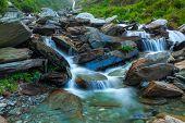Cascade of Bhagsu waterfall in Himalayas. Bhagsu, Himachal Pradesh, India. Polarizer filter used poster