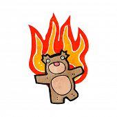 retro cartoon burning teddy bear poster