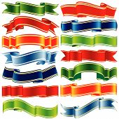 set of vector shiny ribbons over white background poster