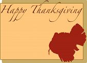 Happy Thanksgiving on a neutral background with a red turkey outline poster