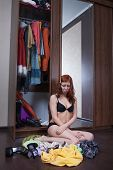 woman can not choose what to wear poster
