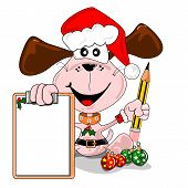 Cartoon dog with a blank Christmas wish list and pencil poster