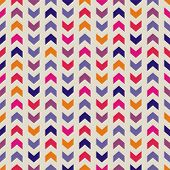 Aztec Chevron seamless colorful vector pattern, texture or background with zigzag stripes in pink, violet, blue and orange color. Background, desktop wallpaper or website design element poster