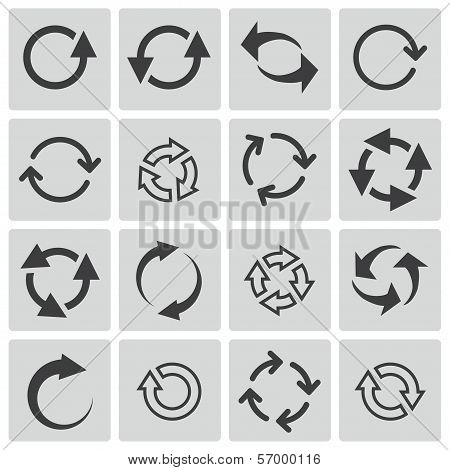 Vector black refresh icons set