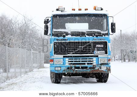 Volvo F16 Truck In Snowfall