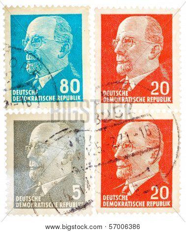 Postcard Printed In The Frg Shows Portrait Walter Ulbricht - German Communist Politician
