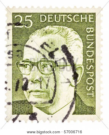 Postcard Printed In The Frg Shows Portrait Walter Ulbricht - German Politician, President Of The Fed