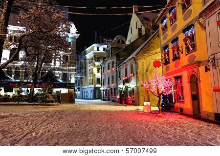 Christmas Night In Old Riga In Latvia