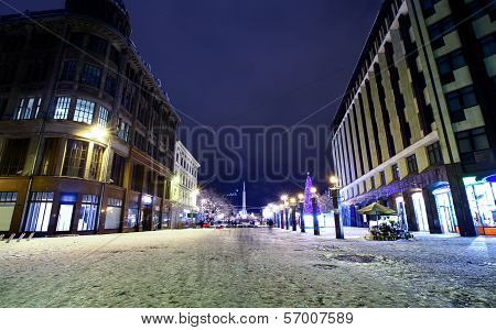 Night View At Center Of Old Riga, Latvia
