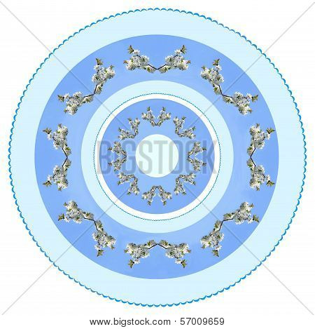 arrangement of white flowers and blue color as pattern for tablecloth