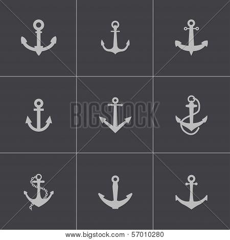 Vector black anchor icons set